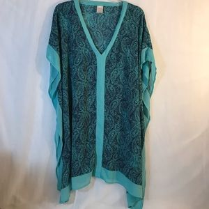 Merona Green with Navy Paisleys Kimono blouse